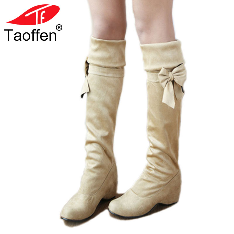 TAOFFEN Plus Size 30-47 Women Warm Boots Fashion Bowknot Plush Fur Snow Winter Shoes Women Concise Round Toe Knee High Boots faux fur knitted bowknot snow boots