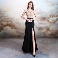 Beauty Emily Stain Diamond Sexy Long Evening Dress Party Elegant Vestido De Festa Long Prom Gown 2018 A Line Long Evening Dress