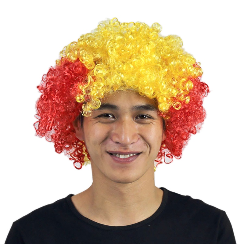NEW World Cup Wig Wild-curl up festival celebrations Head cover periwig head wear toupee hairpiece