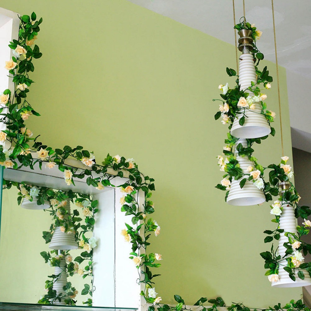 4 Colors 2.5M Artificial Rose Garland Flower Vine Ivy Home Wedding ...