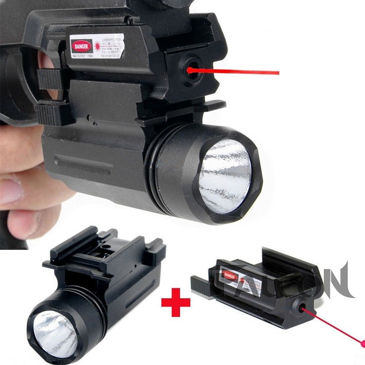 Tactical Red Dot Laser Sight + LED Flashlight Combo Hunting Laser for Pistol Guns Glock 17,19,20,21,22,23,30,31,32