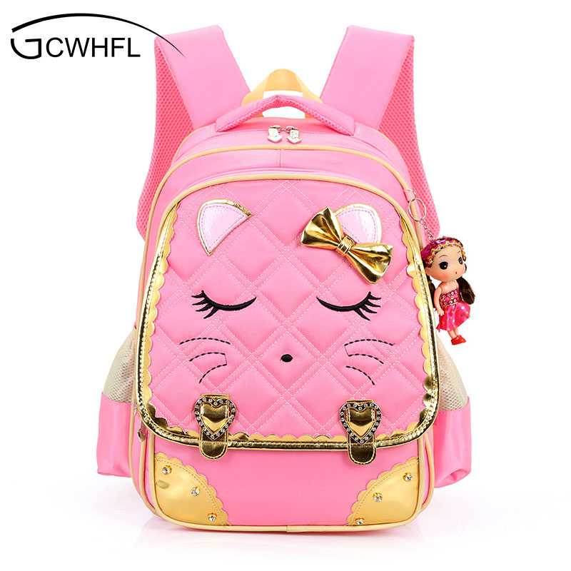 Cute Cartoon Cat Girls School Bags Princess Pink Nylon Children Backpacks For Primary School Students Schoolbag