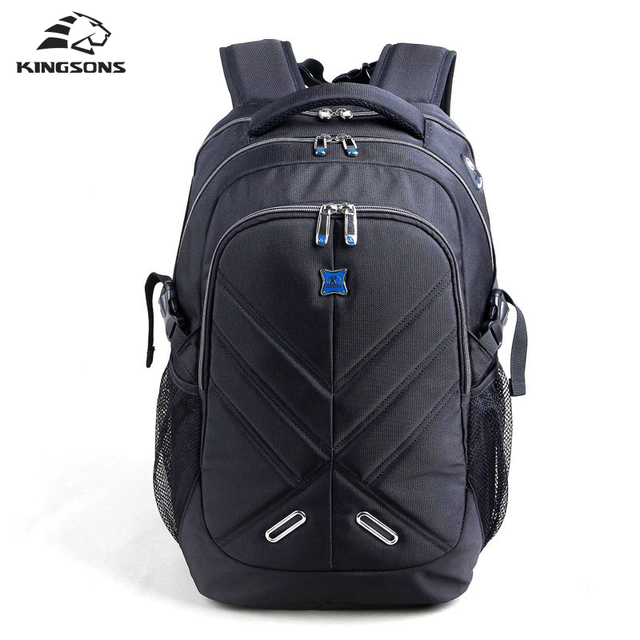 Kingsons Shockproof Air Cell Cushioning Laptop Backpack Men 15.6 inch Black Business Double Shoulder Bag Travel School Bag