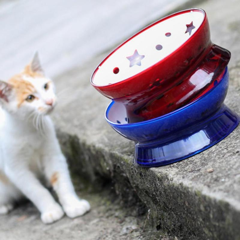 1Pc Blue/Red Pet Cat Tilted Bowl Water Feeding Dispenser Food Dish Feeder Drinker for Cats Dogs