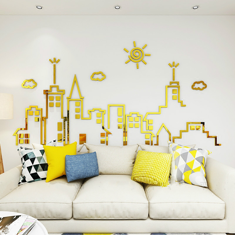 City Silhouette 3D Stereoscopic Wall Mirror Sticker Self