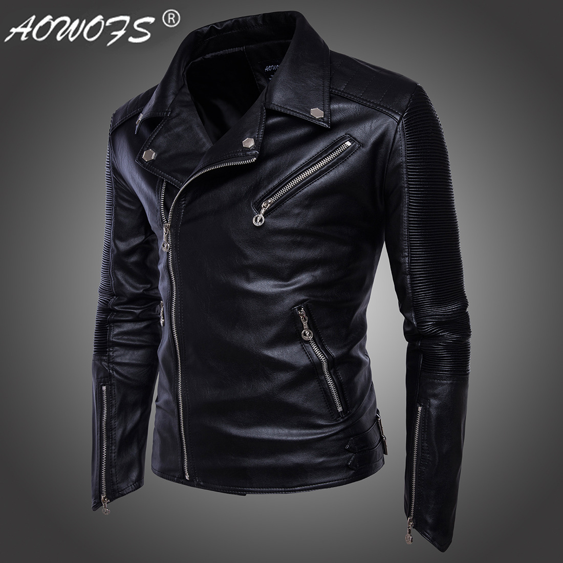 Jacket Men's European Code Hot Sprint Europe 2017 Men's Locomotive Multi-zipped Leather Jacket Motto Jacket Black