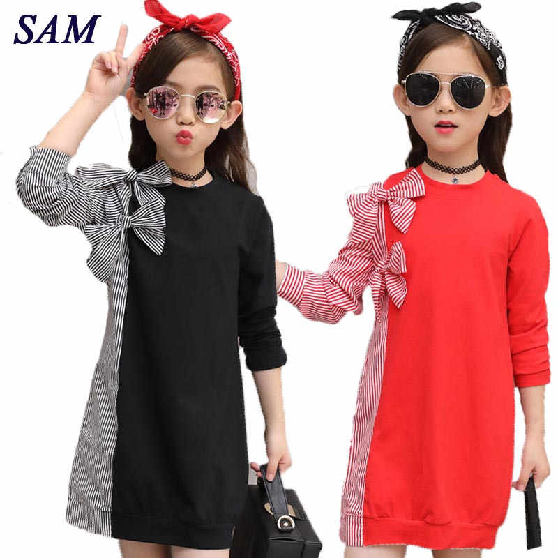 2018 Autumn Fashion Big Girls Dress Children's Bow Tie Stitching Striped Shirt Long Sleeve Dresses Kids Cute Clothes
