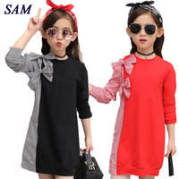 2017 Autumn Fashion Big Girls Dress Children S Bow Tie Stitching Striped Shirt Long Sleeve Dresses