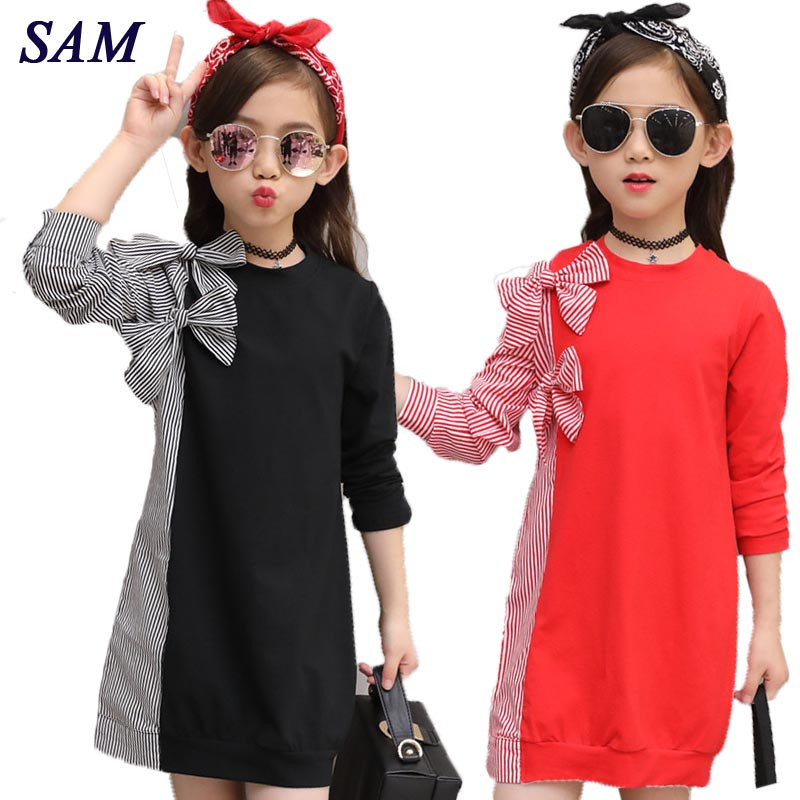 2018 Autumn Fashion Big Girls Dress Children's Bow Tie Stitching Striped Shirt Long Sleeve Dresses Kids Cute Clothes все цены