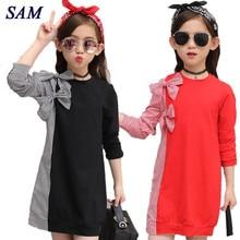 2018 Autumn Fashion Big Girls Dress Children's Bow Tie Stitching Striped Shirt Long Sleeve Dresses Kids Cute Clothes