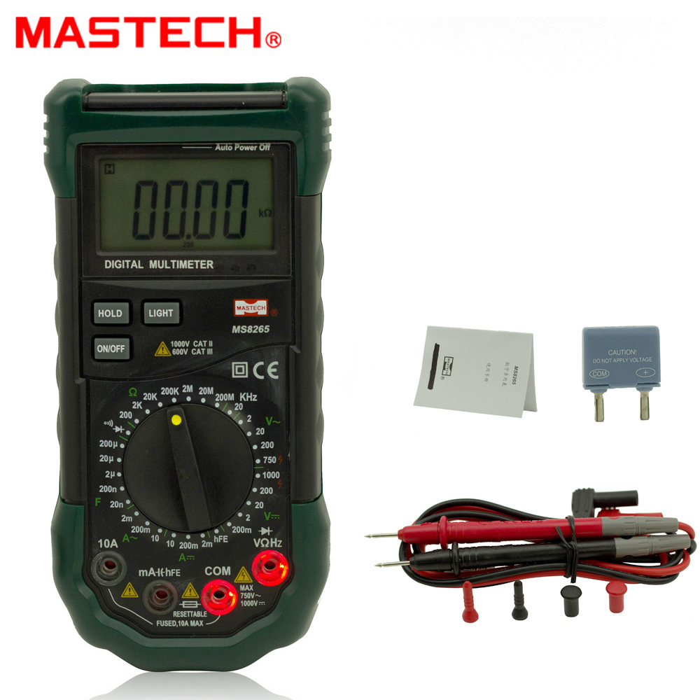 Mastech MS8265 Digital Multimeter for AC/DC Voltage Current Test with Ohm Capacitance Frequency Measurement 1 pcs mastech ms8269 digital auto ranging multimeter dmm test capacitance frequency worldwide store
