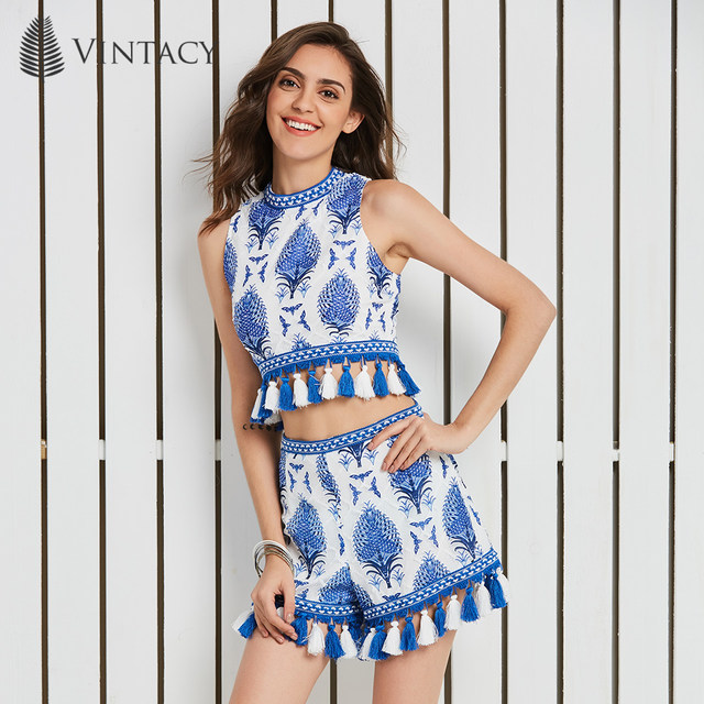 7f6169922cc Vintacy Blue and White Women Set Ethnic Tassel Lace Sleeveless Sexy Crop  Top High Waist Shorts Holiday Casual 2 Piece Suit Set