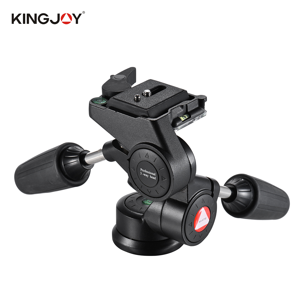 """Kingjoy KH 6730 Double Handle 3D Video Tripod Head Panoramic Damping Pan/Tilt Head with 1/4"""" Quick Release Plate Max. Load  8kg-in Tripod Heads from Consumer Electronics    1"""