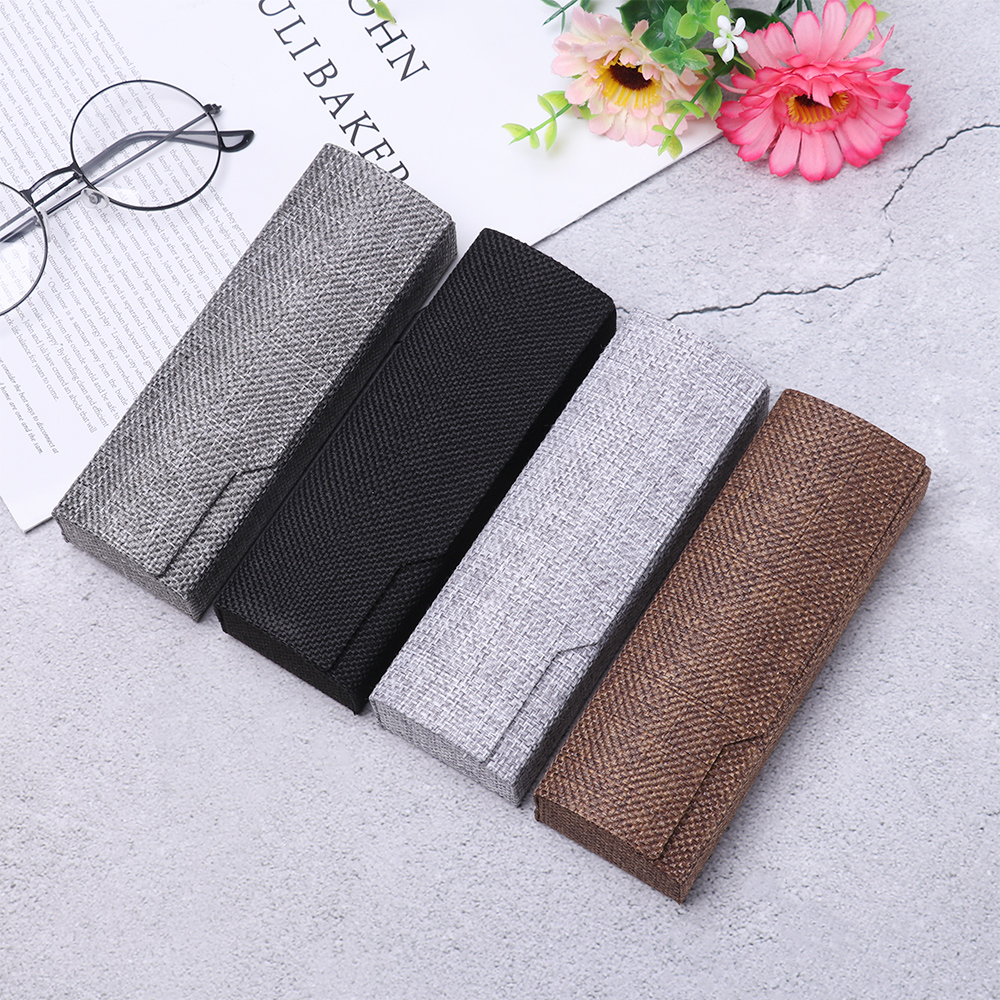 Men Women Vintage Retro Square Glasses Box Sunglasses Linen Folding Eyewear Case Optical Handmade Storage Glasses Case New