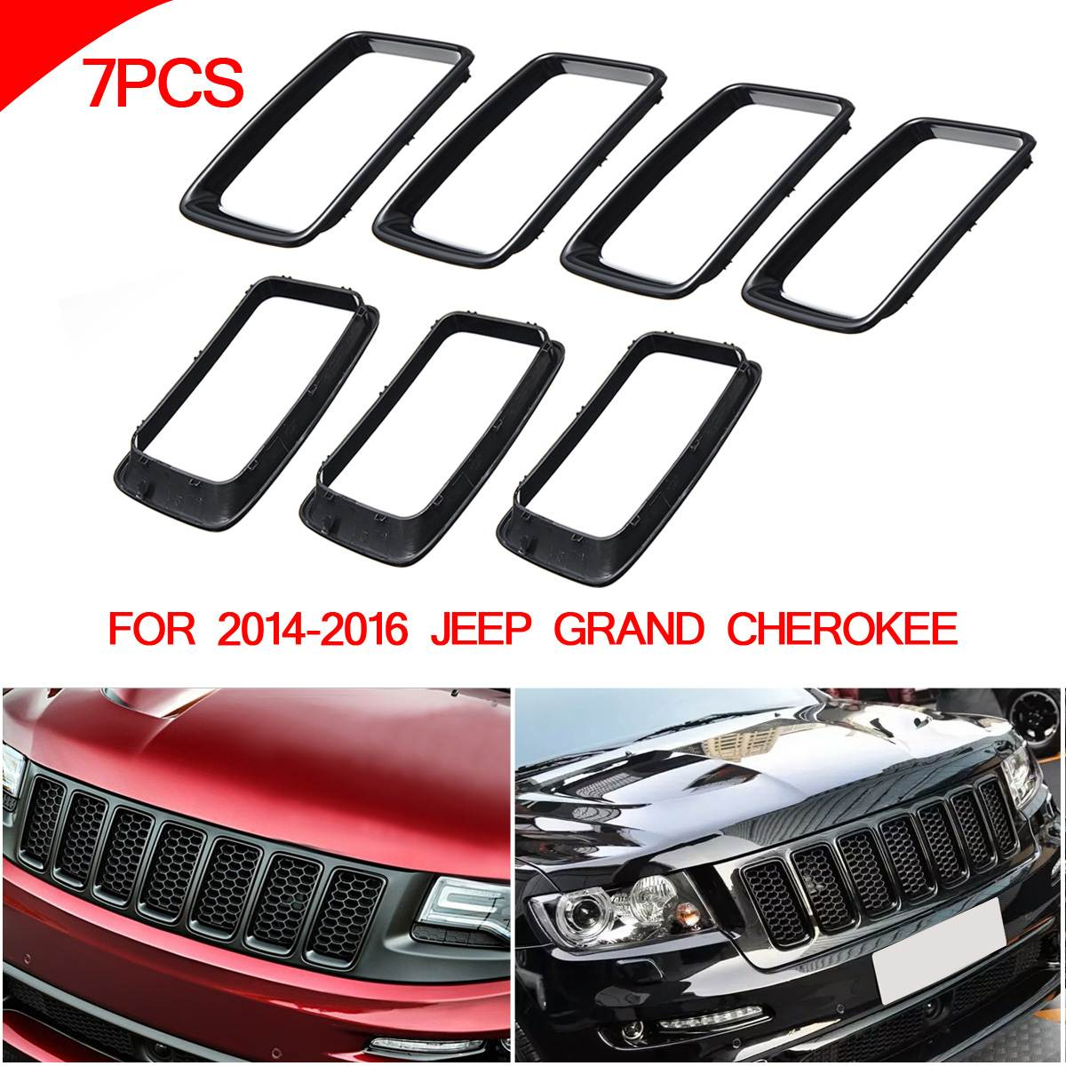 цены Front Grille Vent Hole Trim Ring Insert BLK For Jeep Grand Cherokee 2014-2016
