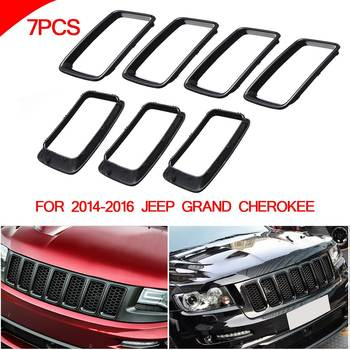 Front Grille Vent Hole Trim Ring Insert BLK For Jeep Grand Cherokee 2014-2016