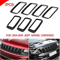 Front Grille Vent Hole Trim Ring Insert BLK For Jeep Grand Cherokee 2014 2016