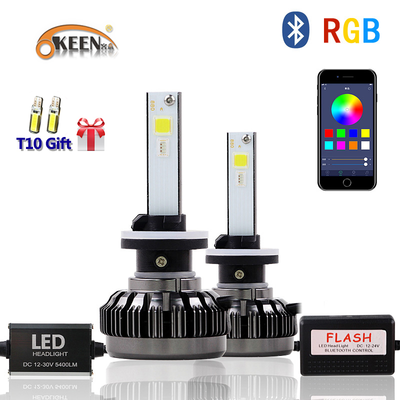 OKEEN Voiture RVB phare LED H1 H3 H4 H7 H8/H11 9005 9006 880 9012 5202 ampoule LED APPLICATION Contrôle Bluetooth multicolore 40 W 6000LM