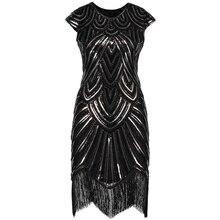 Kadın Great Gatsby elbise Vintage o boyun kap kollu pullu boncuk püskül 1920s sinirli elbise kükreyen 20 parti giysileri