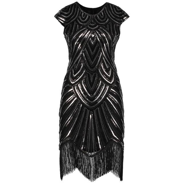 נשים של גטסבי גדולה בציר O צוואר שווי שרוול נצנצים חרוז ציצית 1920s שמלת סנפיר של שואג מסיבת תחפושות