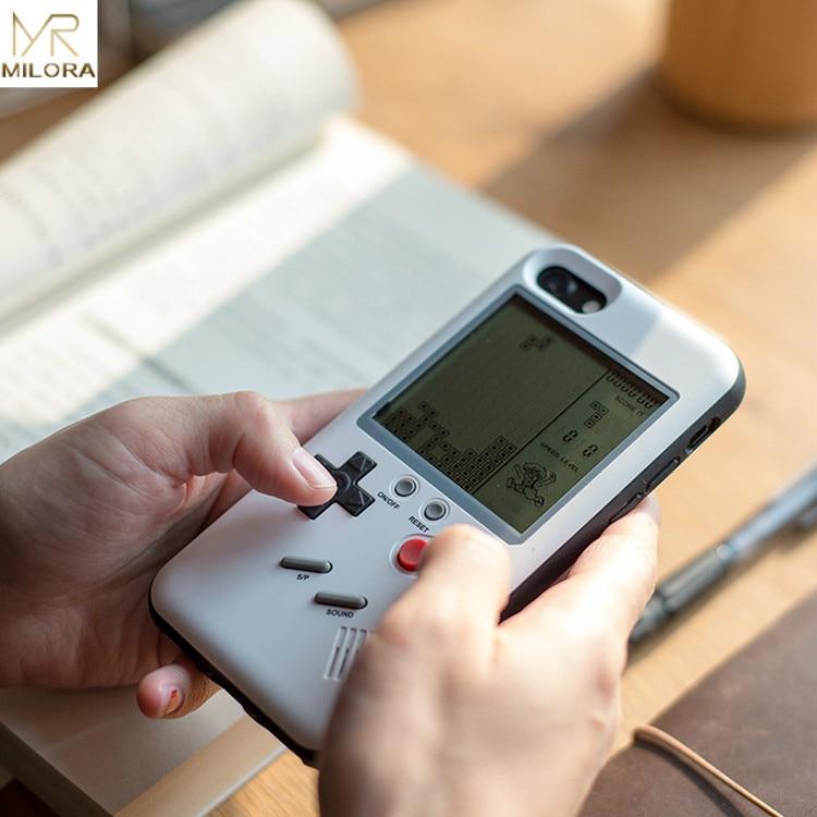 MLR Retro GB Gameboy Tetris Casse Del Telefono per il iphone 6 6 S 7 8 Più Morbida di TPU Può Giocare Blokus Console di Gioco Cover Per Iphone X