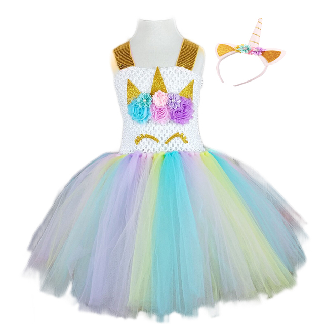 69b0e851978 POSH DREAM Kids Girl Unicorn Dress for Cosplay Party Easter Color 1st Birthday  Party Tutu Dresses Children Cosplay Costume Set