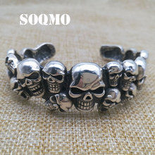 SOQMO 100% 925 Silver Punk Matte Skull Bangles For Men Brushed Skull Charm Link Chain Brecelet Male Gothic Jewelry SQM014 soqmo solid 925 silver skull pendant for biker man cool snake budda sculpture mens vintage gothic punk pendants jewelry sqm023