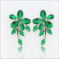 Stud Earrings Silver Color Women Christmas Jewelry Flower Shaped Green Created Emerald  Free Gift Box