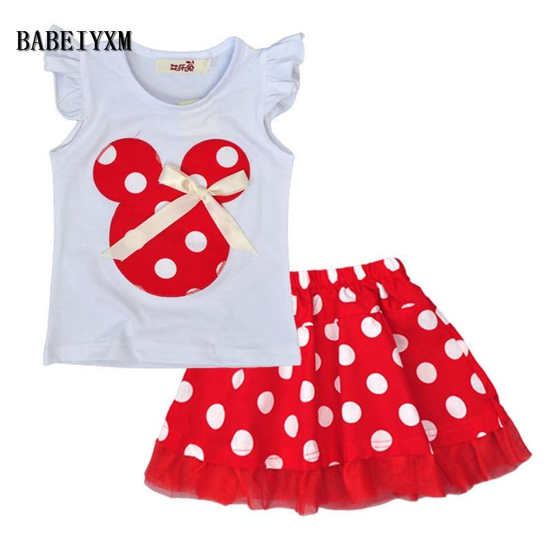 NEW summer Baby Girl Clothes Girls Clothing Mickey Minnie head dots Ruffled short-sleeved T-shirt+Polka Dot skirt 2PCS Suits