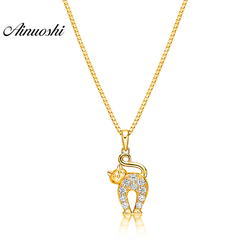 все цены на AINUOSHI 10K Solid Yellow Gold Pendant Cute Cat Pendant SONA Diamond Women Men Children Jewelry Little Animal Separate Pendant онлайн