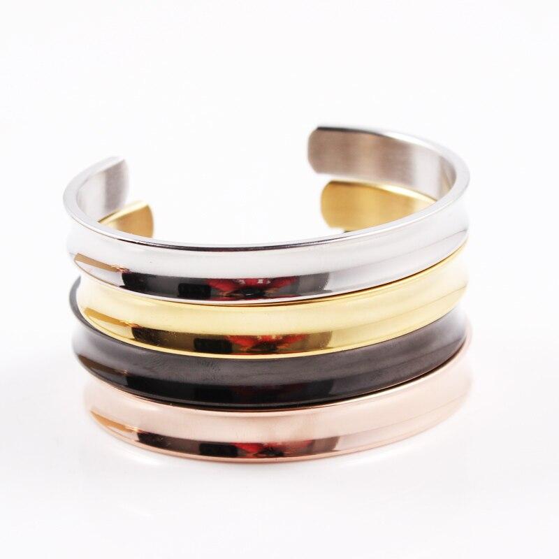 Couleur or Rose couleur argent Bracelets de manchette ouverts pour femmes hommes bijoux Bracelets noirs accessoires de main réglable