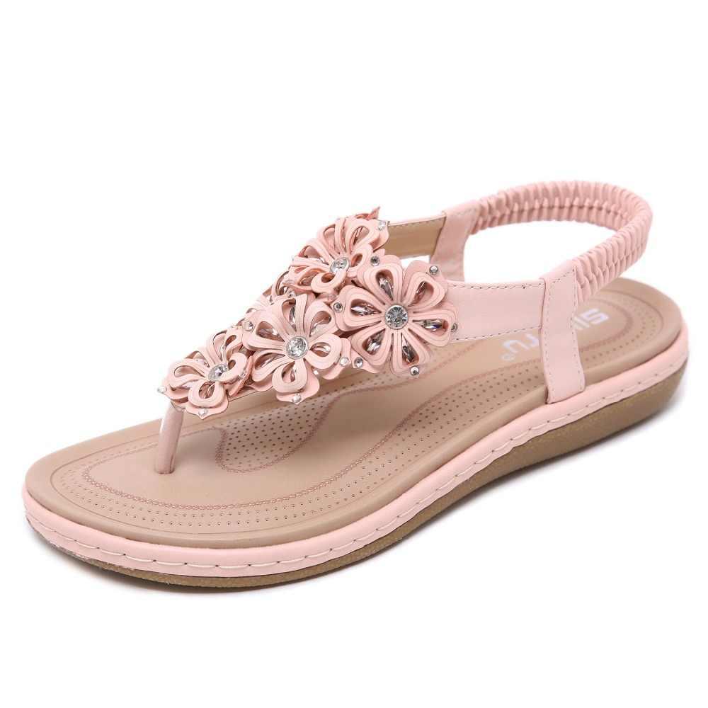 GOXPACER ดอกไม้ฤดูร้อนรองเท้าผู้หญิงรองเท้าแตะโบฮีเมีย Rhinestone ส้นแบน Nation รองเท้าผู้หญิง Plus ขนาดยืดหยุ่นจัดส่งฟรี