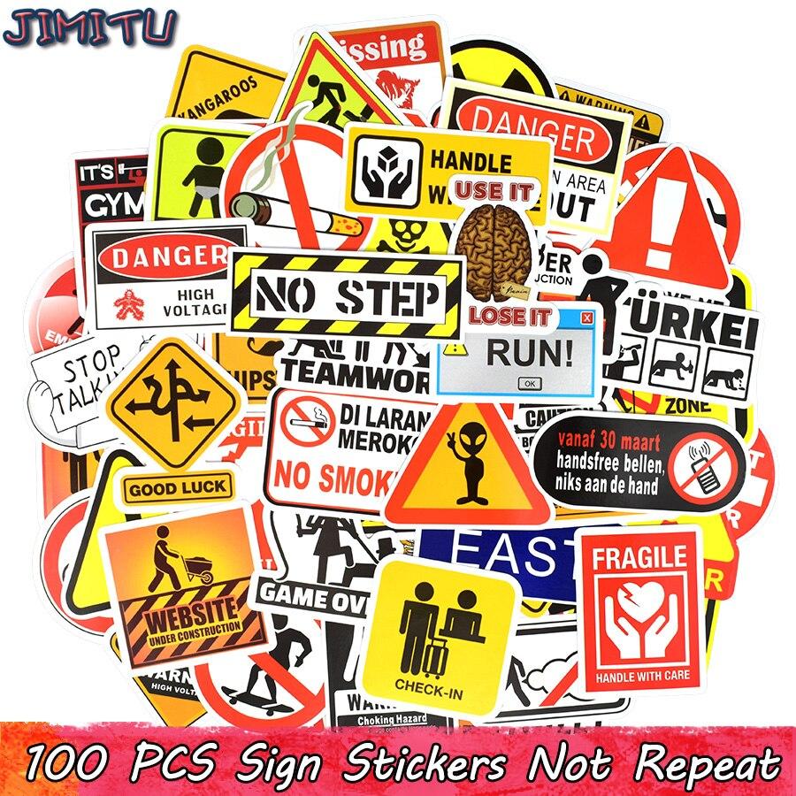100 PCS Warning Sign Sticker Symbol Reminder Mark Label Stickers Scrapbook Notebook Suitcase Laptop Fridge Bicycle Motorcycle