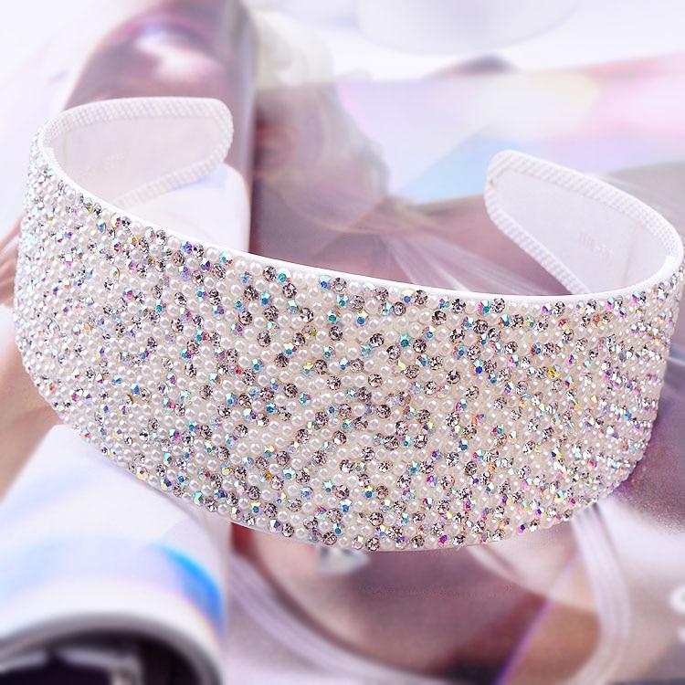 PJ.SDZM 3PCS/LOT South Korea 6cm Crystal Hairbands Full Diamond Hair Accessories Anti-skid Wide Headwear