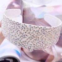 PJ.SDZM 3PCS/LOT South Korea 6cm Crystal Hairbands Full Diamond Hair Accessories Anti skid Wide Headwear