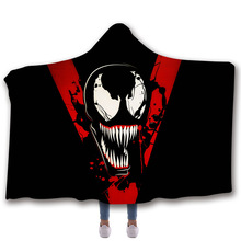 Cartoon Hooded Blanket For Home Travel Picnic 3D Printed Fleece Bed Wearable Warm Throw Adults Childs