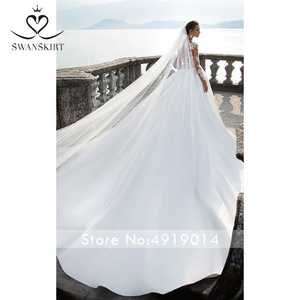 Image 4 - Swanskirt Scoop Satin Wedding Dresses2020 Appliques Long Sleeve A Line Chapel Train Princess Bride Gown Vestido de Noiva I140