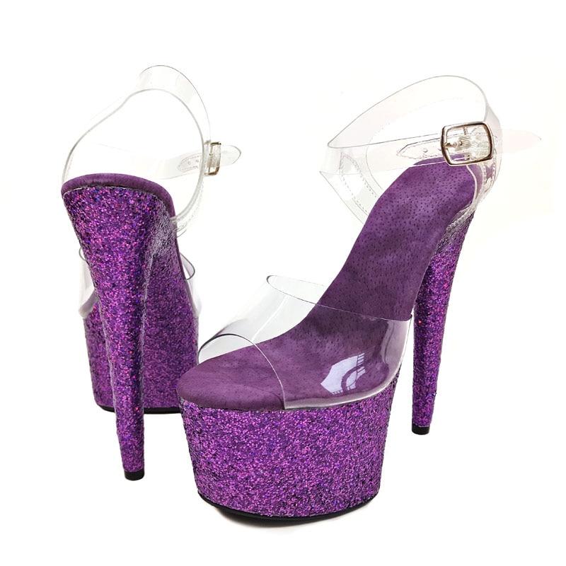 Leecabe Purple Glitter High Heel Sandals Lap-dancing Shoes High-Platform Sexy Pole Dancing Shoes 17 cm Dance Shoes