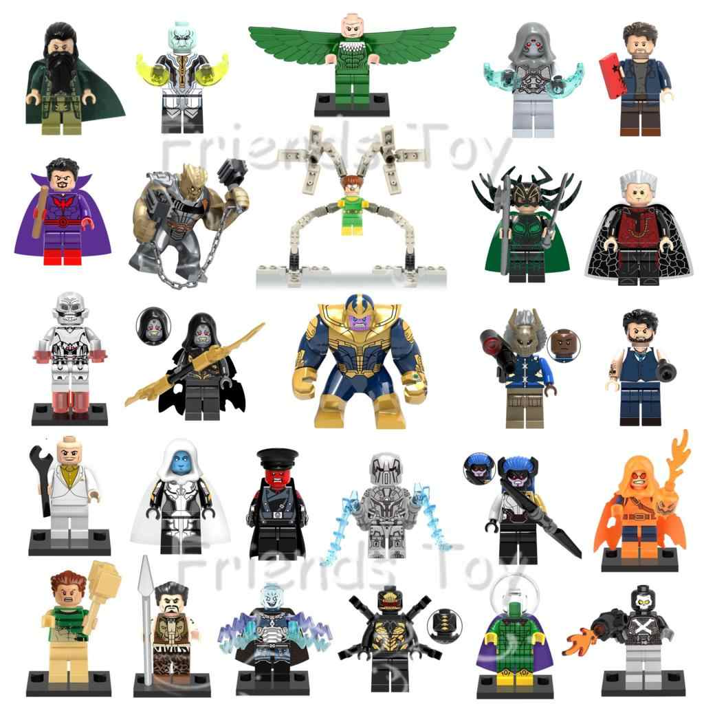 27pcs Marvel Villains Thanos Hela Dr Octpus Kingpin Cull Obsidian Red Skull Avengers เข้ากันได้กับ Lego