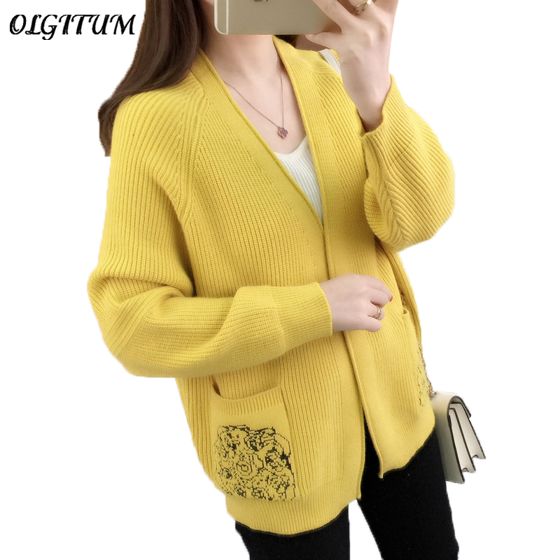 267150ef0e4 High Quality 2019 Fashion Sweater Cardigan Autumn Winter New Women Double  Pocket Embroidered Design Loose Knitted Cardigan Coat