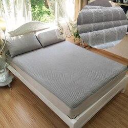 Algodão terry impermeável colchão protetor capa para cama sólido cinza folha de cama protetor almofada capa anti-ácaro