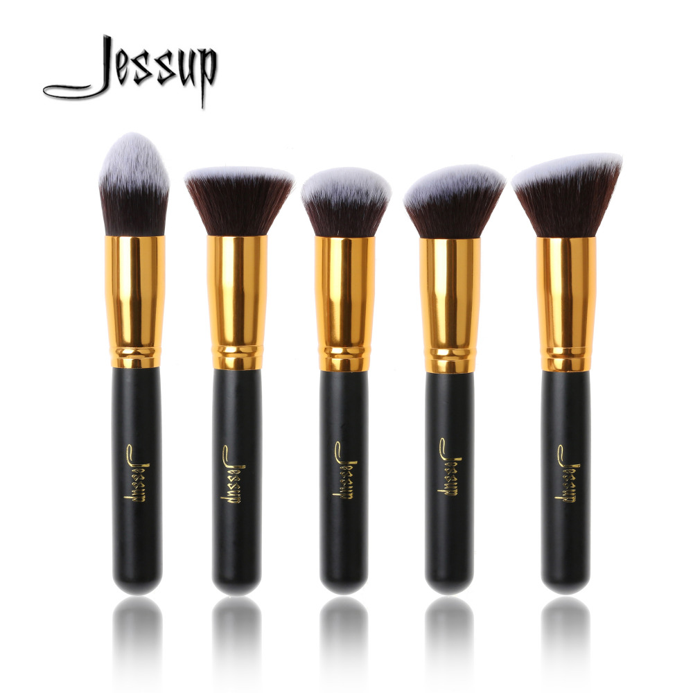 Jessup 5pcs Black/Gold Makeup Brushes Sets High Quality Beauty kits Kabuki Foundation Powder Blush Make up Brush Cosmetics Tool jessup 10pcs makeup brushes sets beauty synthetic hair make up brush tool foundation powder lash brow grommer cosmetics tools