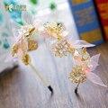 T Мода Золото цвет бабочки hairband шелк hairwear корона партия свадебные аксессуары для волос невесты головной убор liuyun