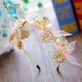 T Da Forma da cor do Ouro borboleta hairband hairwear coroa da festa de casamento de seda menina acessórios para o cabelo de noiva headpiece liuyun