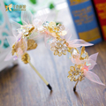 T Fashion Gold color butterfly hairband girl silk hairwear crown party wedding hair accessories bride headpiece liuyun