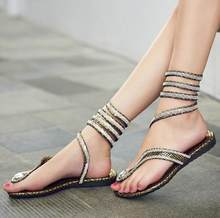 plus size 41 Summer style knee high gladiator sandals women Flat Sandals Snake Punk Rhinestone Boot Women Sandals a085(China)