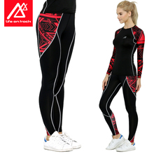 Women Compression Pants Fitness Print Clothing Female Sweat Slim Legging Life On Track
