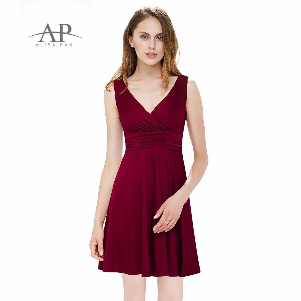 Alisa Pan Hot Sale Summer Casual Dress V-neck Sleeveless A-line Burgundy Navy Royal Blue Green Black Women Dresses Loose AP05294