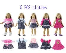 مجموعة من 5 ملابس دمية لدمية أمريكية 18 بوصة ملابس غير رسمية مصنوعة يدويًا