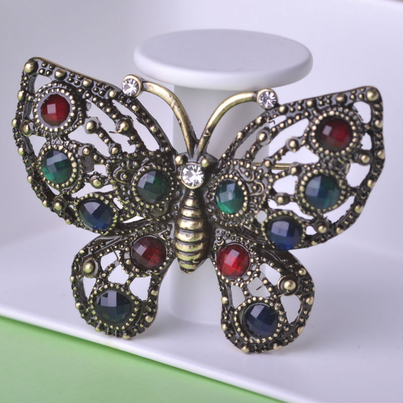Retro Colorful Butterfly Crystal Brooches For Men font b Women b font Corsage font b Hat